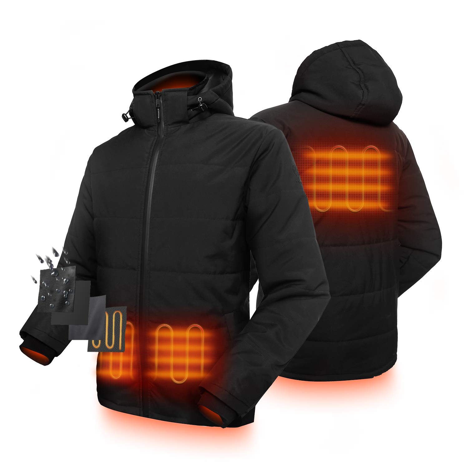 ORORO Mens Lightweight Padded Heated Jacket with SMAWARM Insulation and Detachable Hood (Battery Included)