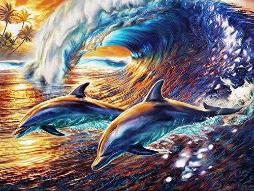 - 5D Diamond Painting Kit DIY Arts Crafts Dolphins Surfing Rhinestone Embroidery Cross Stitch Wall Decor (15.7x11.8inch/40x30cm)
