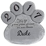 Miles Kimball Personalized Pet Memorial Stone – Customize Paw Print Remembrance Garden Stone with Pet Name – Outdoor Indoor Dog or Cat - Loss of Pet Sympathy Gift