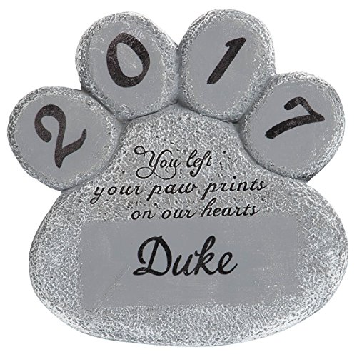 Miles Kimball Personalized Pet Memorial Stone – Customize Paw Print Remembrance Garden Stone with Pet Name – Outdoor Indoor Dog or Cat - Loss of Pet Sympathy Gift by Miles Kimball
