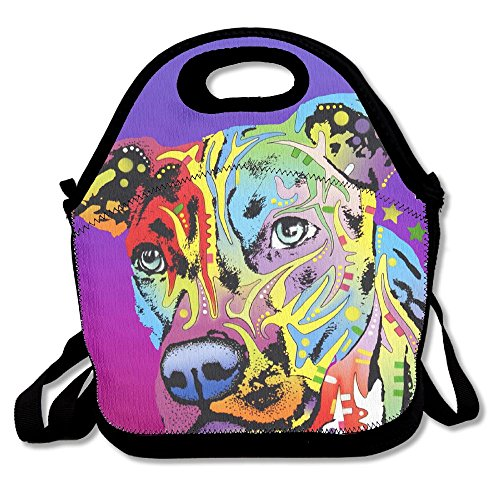 - Neon Pitbull Colorful Dog Face Purple Lunch Bags Insulated Travel Picnic Lunchbox Tote Handbag With Shoulder Strap For Women Teens Girls Kids Adults