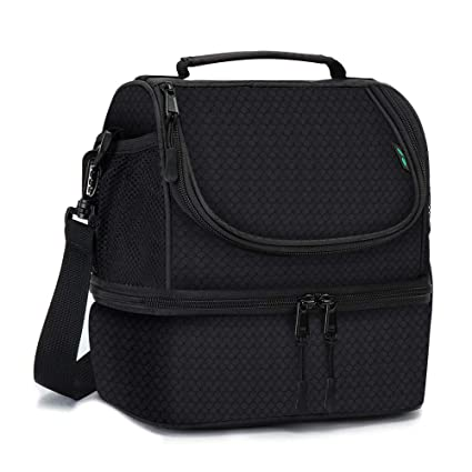 b7ff93539be6 Dual Compartment Insulated lunch Bag, Double Deck Reusable Insulated Lunch  Tote Bag for Adult with Removable Divider for ...