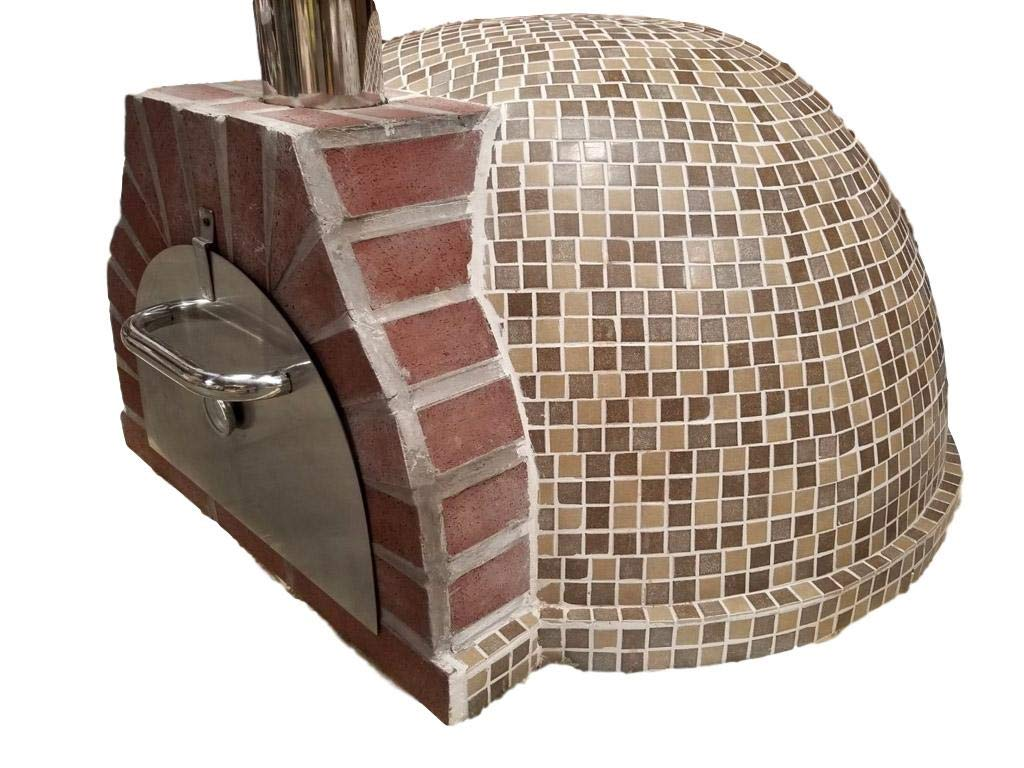 Western Pacific Pizza Oven Outdoor Tan Brown Mosaic Tiles, Wood Coal Fired BBQ Grill Roast, Stone Brick Clay Cement New