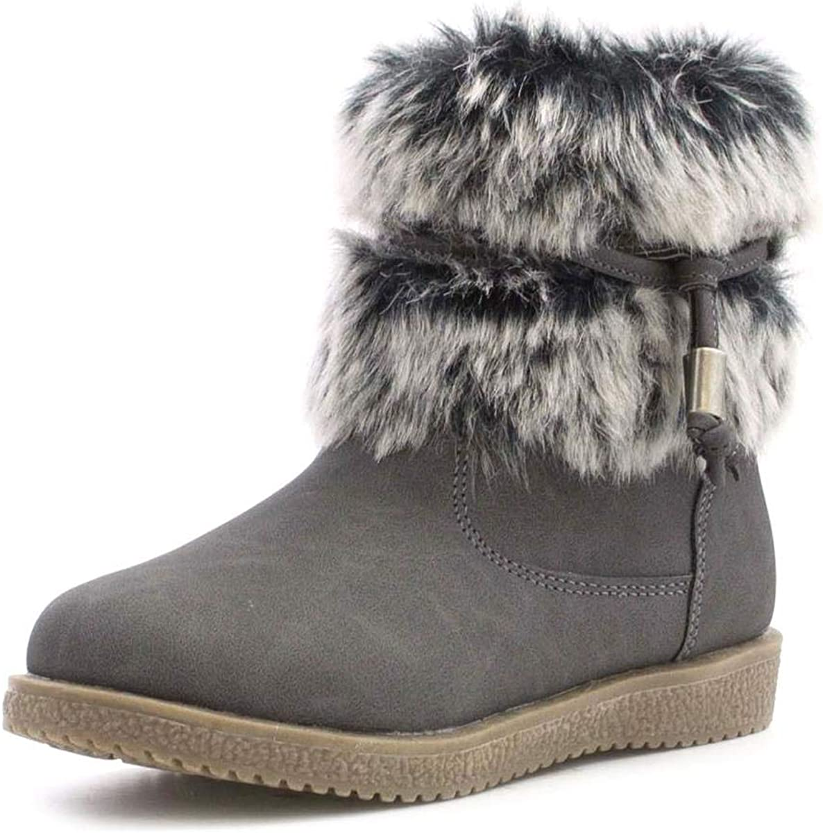 Walkright Girls Grey Tassel Faux Fur