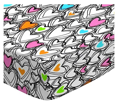 SheetWorld Fitted Portable / Mini Crib Sheet - Scribbled Hearts Jersey Knit - Made In USA (Scribbled Hearts)