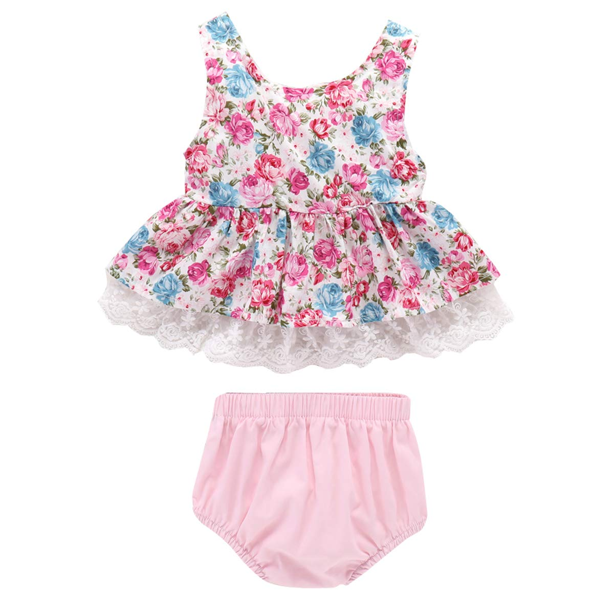 Sleeveless Tank Top Solid Shorts Pant Outfit Baby Girls Little Flower Vest Shorts Set