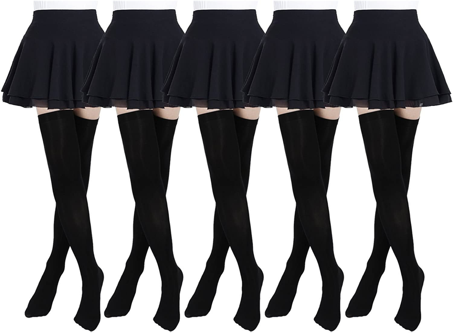 Women/'s Fashion Opaque Solid Color Thigh High Stockings Over The Knee Socks Con