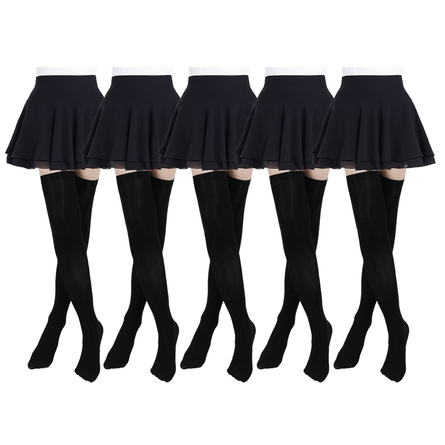Women's Thigh High Stockings Socks of Solid Color Opaque Sexy,Over the Knee High Leg Socks 5-Pairs(Black)