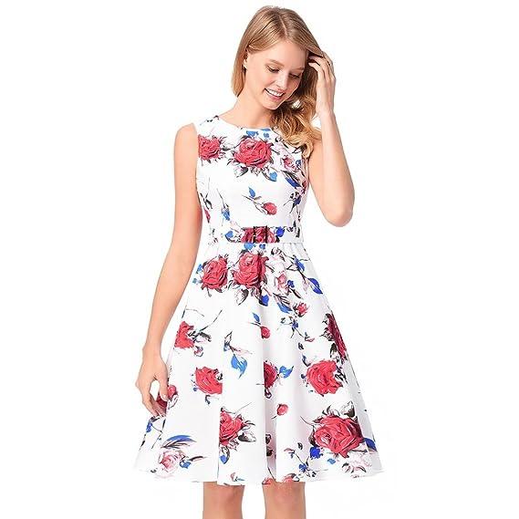 Vestido estampado Rose Robe Retro Swing Casual Vintage Vestidos sin mangas Swing Mujer Vestido de Fiesta Manga Elegantes Coctel Noche Falda: Amazon.es: Ropa ...