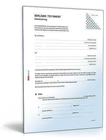 berliner testament einheitslsung doc ehegattentestament download - Ehegattentestament Muster