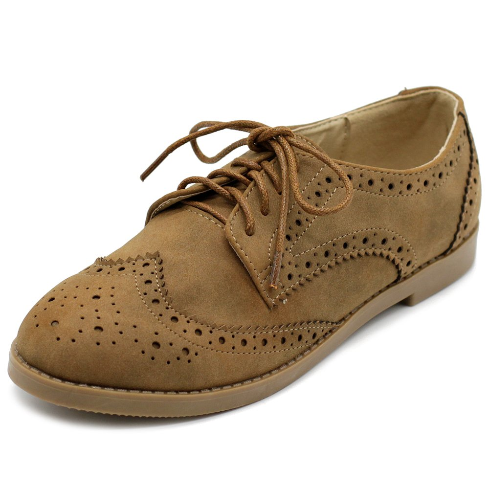 Ollio Women's Flat Shoe Wingtip Lace up Faux Nubuck Oxford M2920 (9 B(M) US, Brown) by Ollio