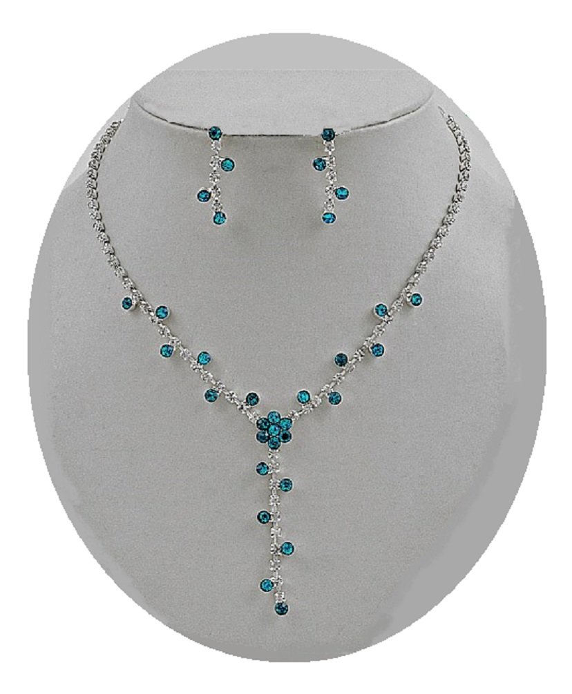 Teal Blue Crystal Y Necklace Silver Fashion Jewelry Boxed (#157)