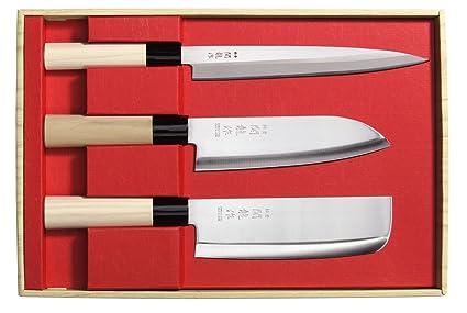 Juego de 3 Cuchillos Japoneses SekiRyu Sashimi, Santoku y ...