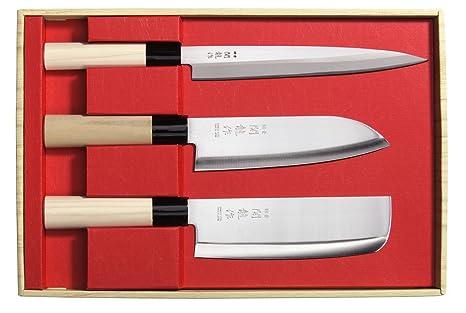 Juego de 3 Cuchillos Japoneses SekiRyu Sashimi, Santoku y Nakiri - SR800. Cuchilla de Acero Inoxidable