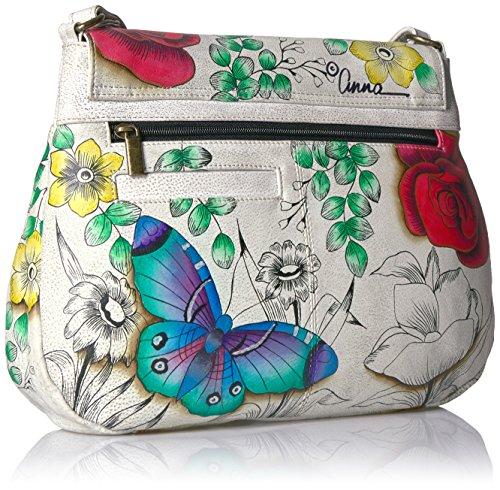 Leather Flap Hobo Anna Fld Handpainted floral Paradise Floral Paradise Anuschka qTEwCw