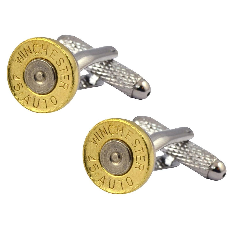 Little Black Gun 45 Auto Caliber Bullet Cufflinks, Thin Brass and Nickel 2 Tone
