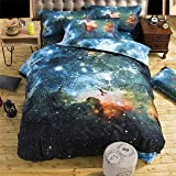 3D Galaxy Colorful Outer Space Night Duvet Cover Set Night Pattern Sparkly Stars Cosmos Mysterious Bedspread Bedding Sets Galaxy Sky King Size 3 Pieces