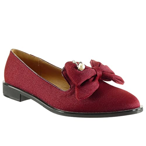 Angkorly - Zapatillas de Moda Mocasines Slip-on Mujer Perla Pajarita Talón Tacón Ancho 2.5 CM - Rojo WH839 T 37: Amazon.es: Zapatos y complementos