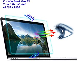 MacBook Pro 15 Inch Screen Protector, Anti Blue Light Anti Glare Screen Filter for 2016 2017 2018 2019 MacBook Pro 15 Touch Bar Model A1707 A1990 Blue Light Blocking & Anti Glare Screen Protector
