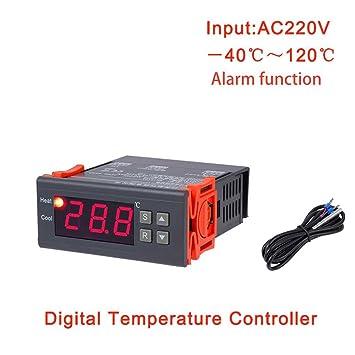 Uzinb Control de Temperatura MH1210B AC220V Digital termostato electrónico Tabla Refrigeración Controller Calefacción regulador térmico
