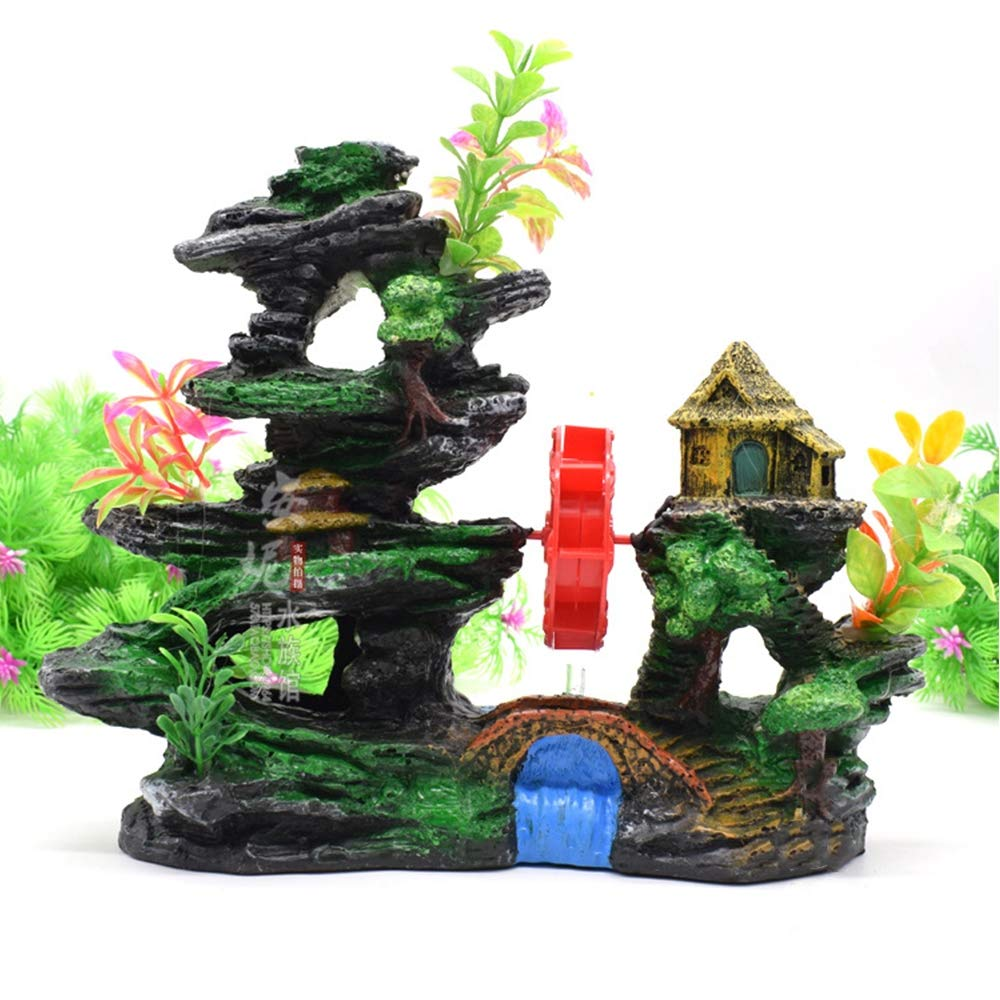 A Aquarium Mountain Coral Reef Rock Cave Stone Moss, Eco-Friendly Aquarium Ornament, Resin Fish Tank Accessories Decorations,A