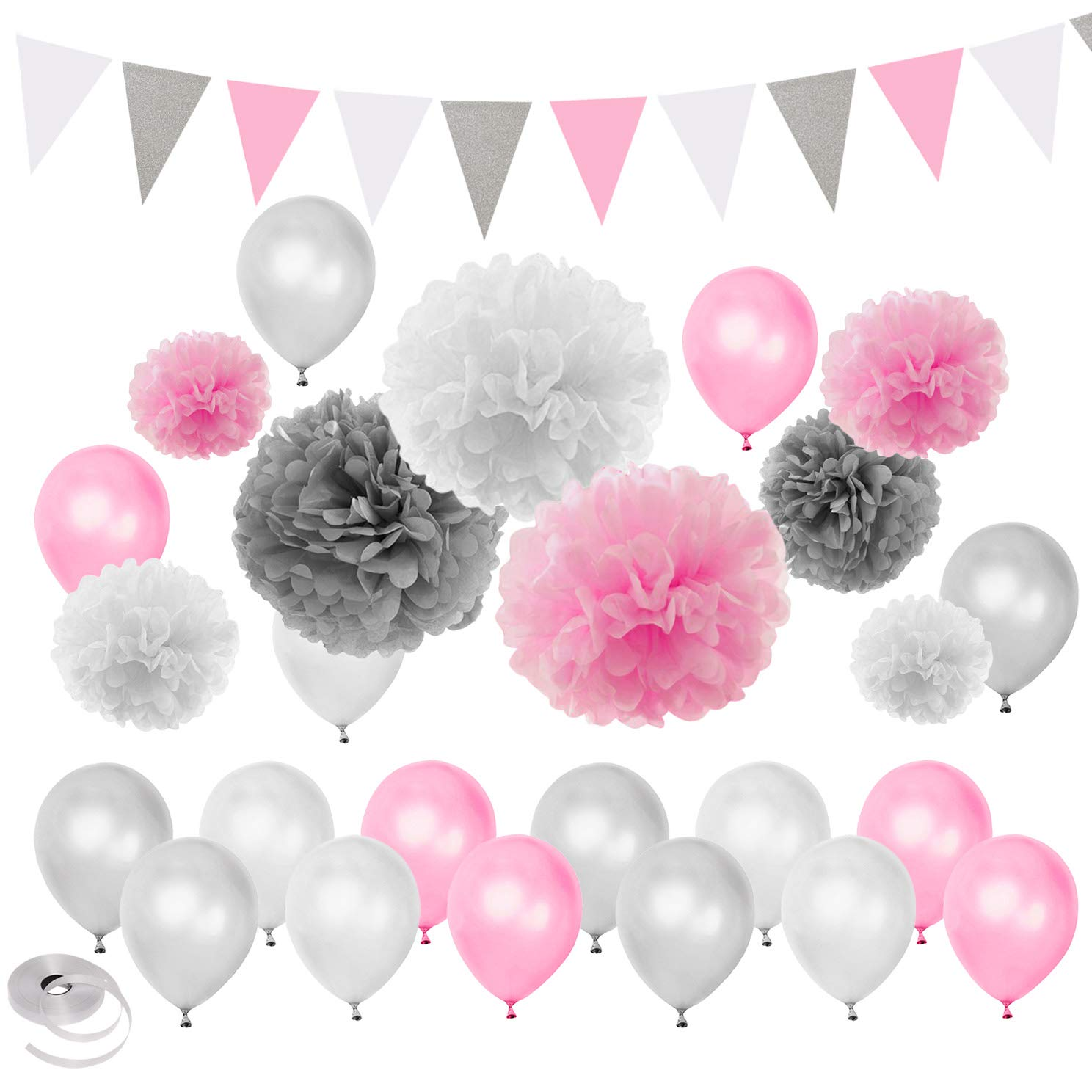 Pink Silver White Tema Baby Shower Party Decorations Matrimonio Compleanno Forniture-Palloncini Paper Pom Pom e Triangle Banners LUCK COLLECTION