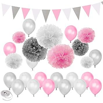 decoraciones del partido rosadas de la fiesta de bienvenida al bebé