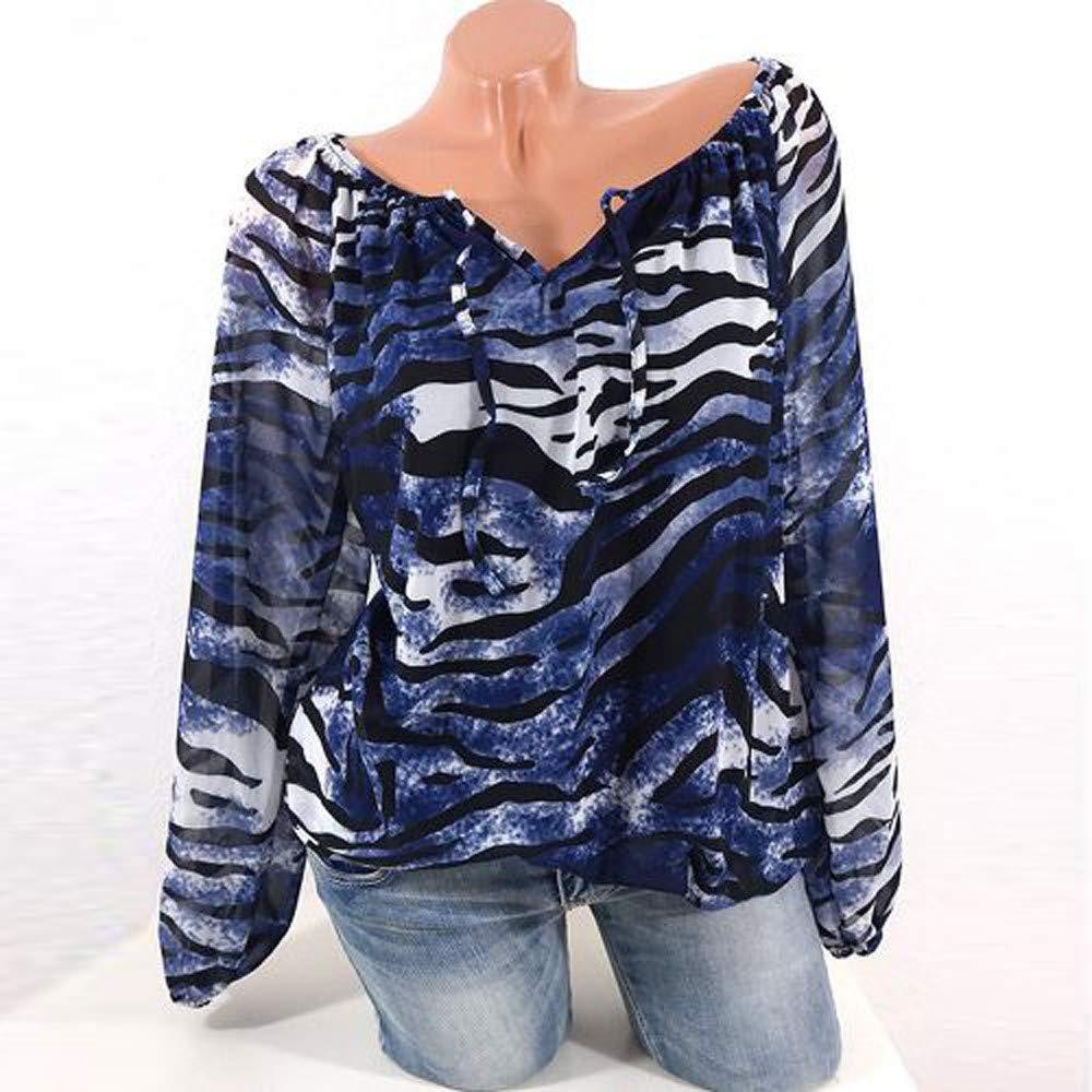 Farjing Womens Casual Long Sleeve Blue Stripe Button T-Shirts Irregular Tops Blouse(XL,Blue)