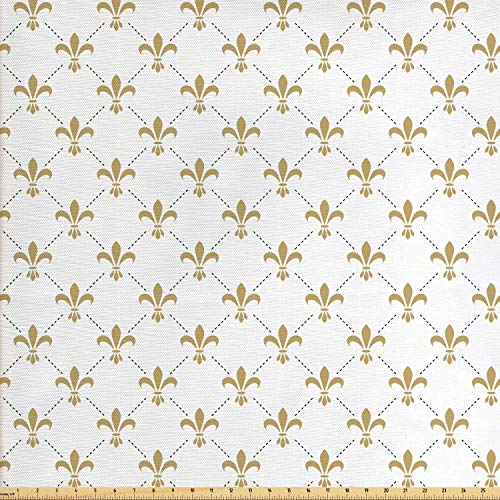 Ambesonne Fleur De Lis Fabric by The Yard, Fleur De Lis Pattern Vintage Stylized Flower Royal Symbol Artistic Design, Decorative Fabric for Upholstery and Home Accents, 1 Yard, White Yellow