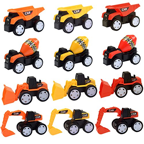 Beach Toy Sandbox Trucks for Kids - 12 Pack (2018 New) Dump Truck Bulldozer Excavator Toy Set for Toddlers Boys Girls, Pull Back Cars Party Favors Cake Topper Best Gift Toy for 3, 4 and 5+ Year Olds
