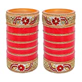 Ddivaa Karvachath / Diwali Designer Golden White & Red Stone Chuda Bridal Wedding Chura Set (2.6 Size)