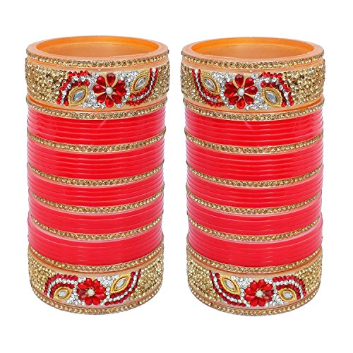 Ddivaa Karvachath / Diwali Designer Golden White & Red Stone Chuda Bridal Wedding Chura Set (2.6 Size) by Ddivaa