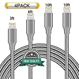 Youer Lightning Cable 4Pack 3FT 6FT 10FT 10FT Nylon Braided Certified iPhone Cable USB Cord Charging Charger for Apple iPhone 8 - X - 7 - 7 Plus - 6 - 6s - 6+ - 5 - 5c - 5s - SE - iPad - iPod Nano - Touch (Grey)