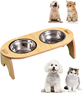 Elevated Double Cat Dog Bowls, Pet Food Water Bowl with 15°Tilted Raised, Pet Feeding Stainless Steel Bowl for Cats and Dogs- Include 2 Stainless Steel Bowls,Improve Digestion