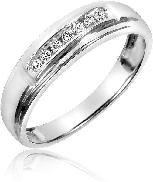 a30d6ba7b32 Amazon.com  1 8 Carat T.W. Diamond His And Hers Wedding Band Set 14K ...