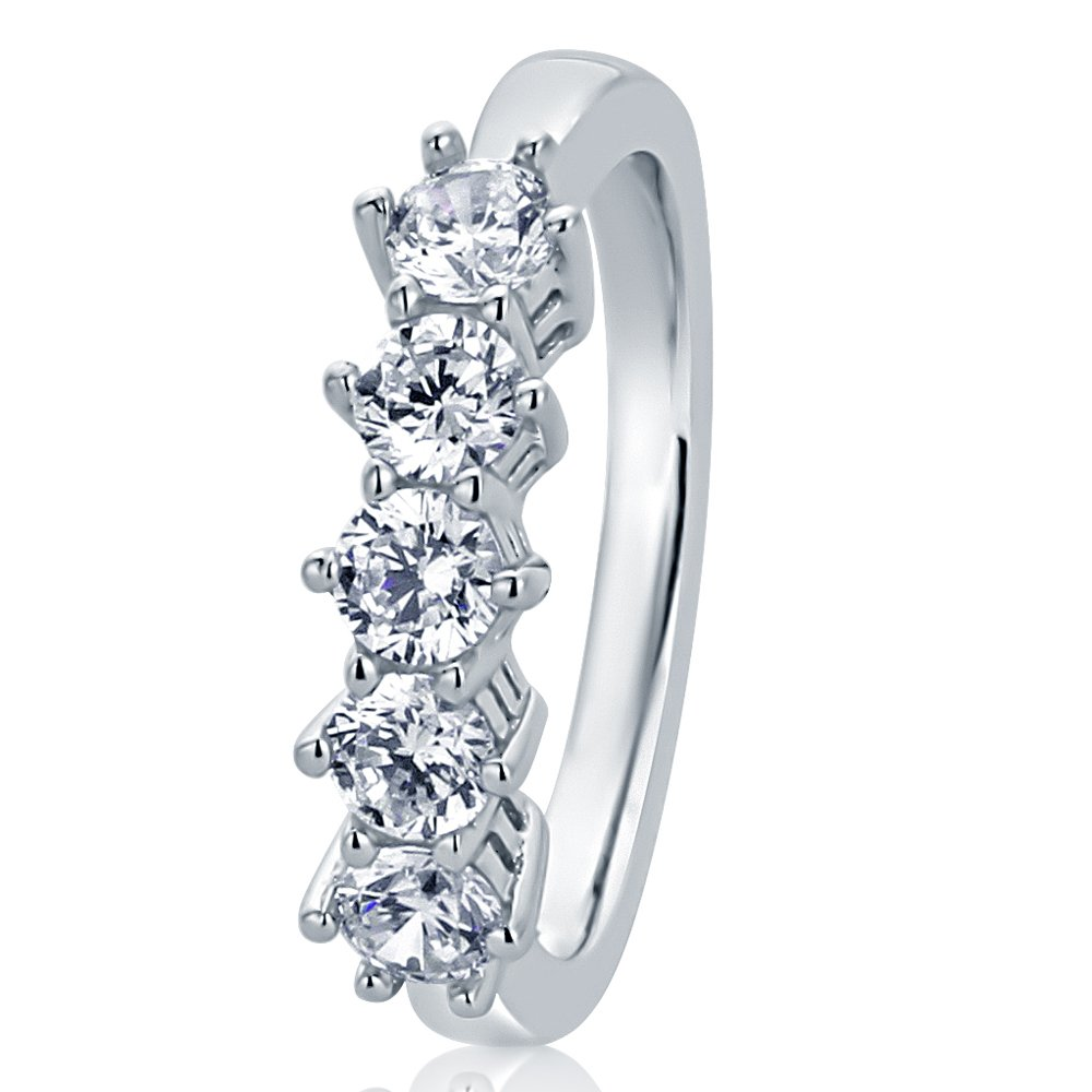 Sterling Silver Wedding Ring Round 0.85ct CZ High Prong Five Stone Anniversary Ring 4.5MM (Size 5 to 10), 10