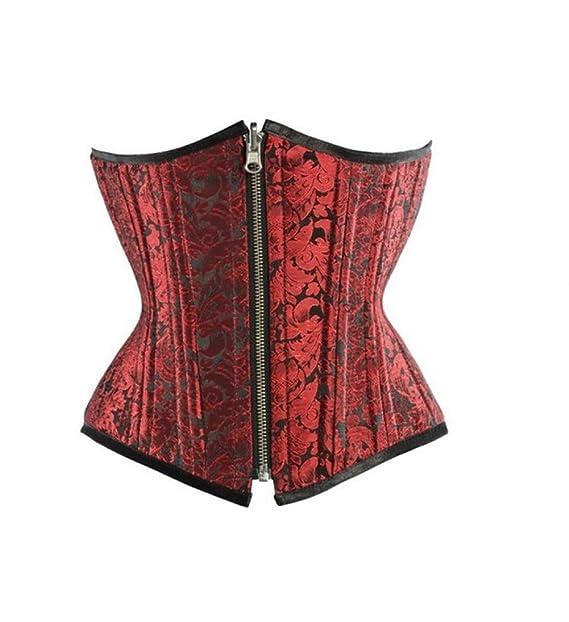 Brocade Fashion Steampunk  Under Bust New /& Stylish Design Black//Red Corset