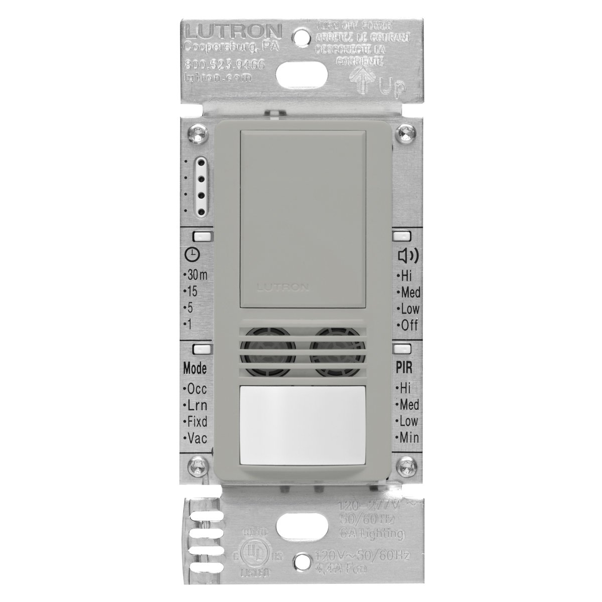 Lutron Maestro Dual Tech Occupancy Sensor Switch, neutral required, 6 Amp 3-Way/Multi-Location, MS-B102-GR, Gray