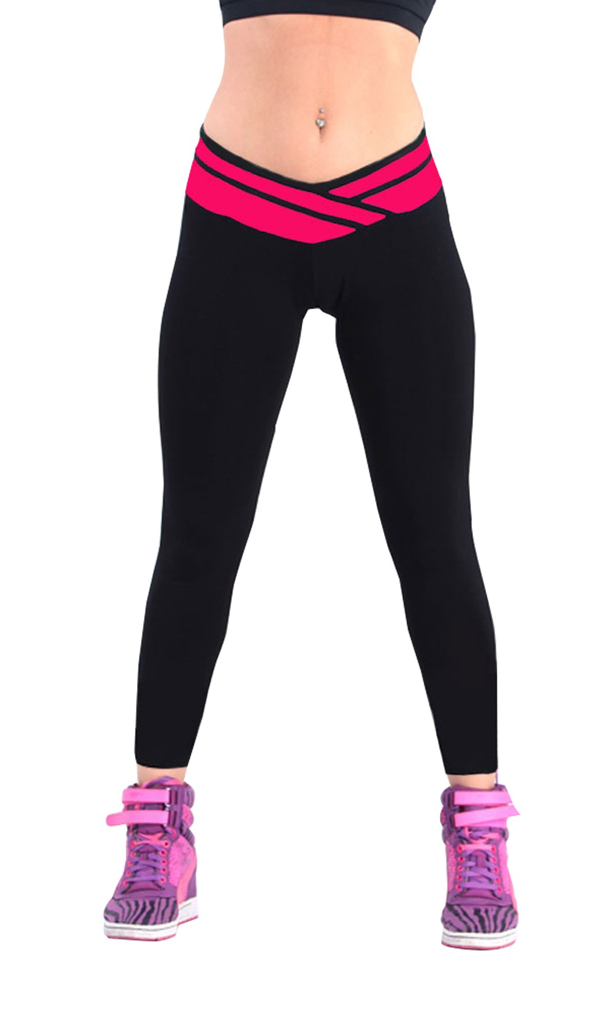 iLoveSIA R Women's Tights Capri Ankle Legging US Size L Black+Rose Red