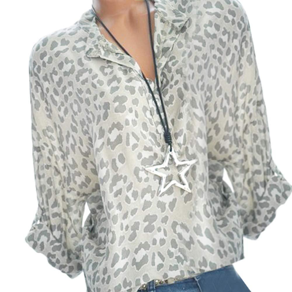 29c933511c4706 NEEKY Damenmode Plus Size T Shirt Sale - Frauen Casual Druck Langarm Button  Tops Bluse Mit Pocket: Amazon.de: Bekleidung