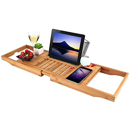 Amazon.com: Bathtub Tray oobest Bamboo Bathtub Caddy Tray with ...