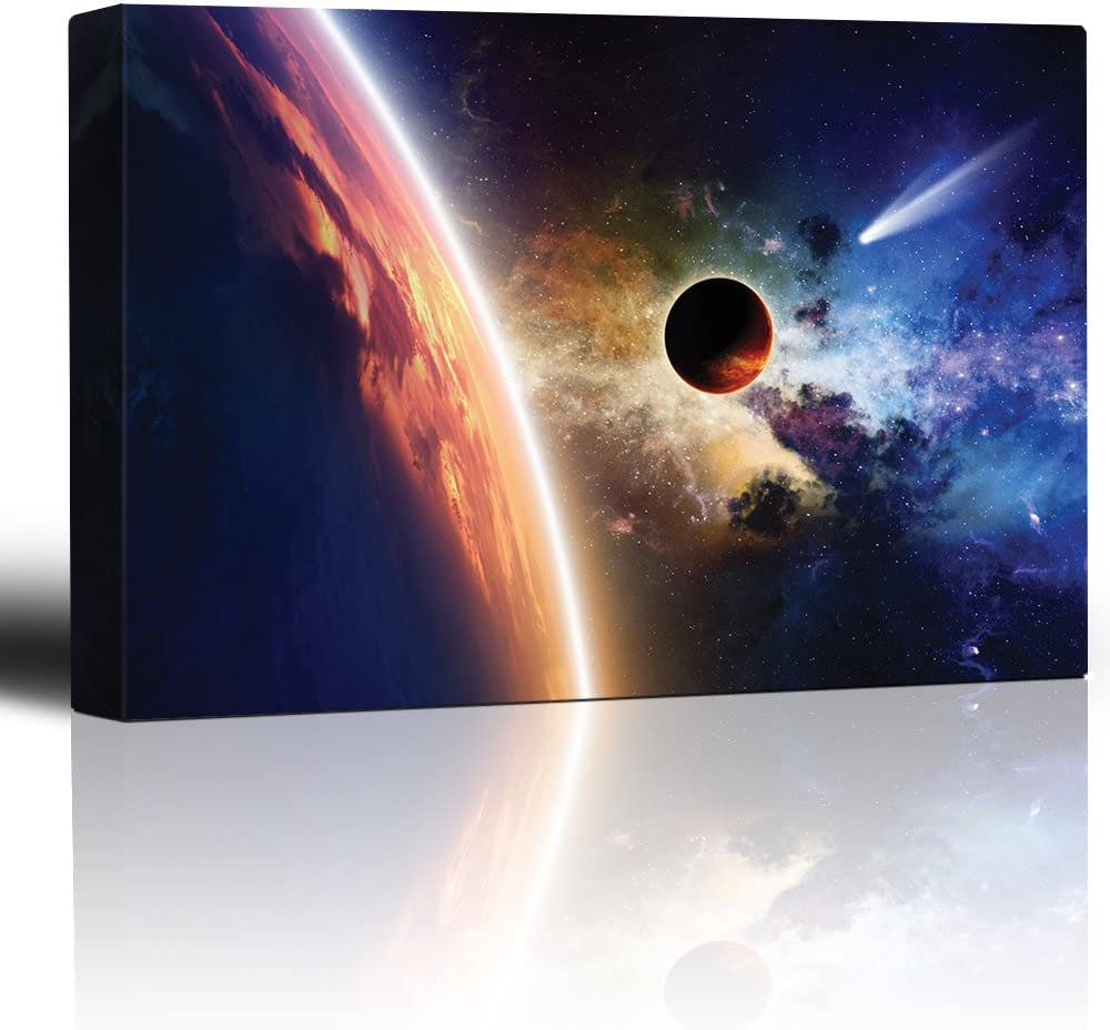Planet Earth on a Rainbow Galaxy with a Shooting Star - Canvas Art Home Art - 12x18 inches