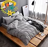 AMWAN ON SALE Solid Grey Luxury Queen Bedding Duvet Cover Set Washed Cotton Men Boys Duvet Comforter Cover Set Full Lightweight Soft Hotel Bedding Collection 1 Duvet Cover 2 Pillowcases Queen Bed Set