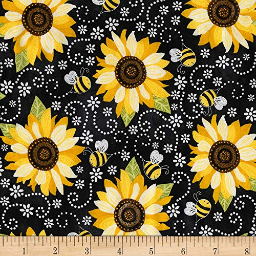 (Timeless Treasures You Are My Sunshine Sunflower & Bee Chalkboard Fabric, Black, Fabric By The Yard )