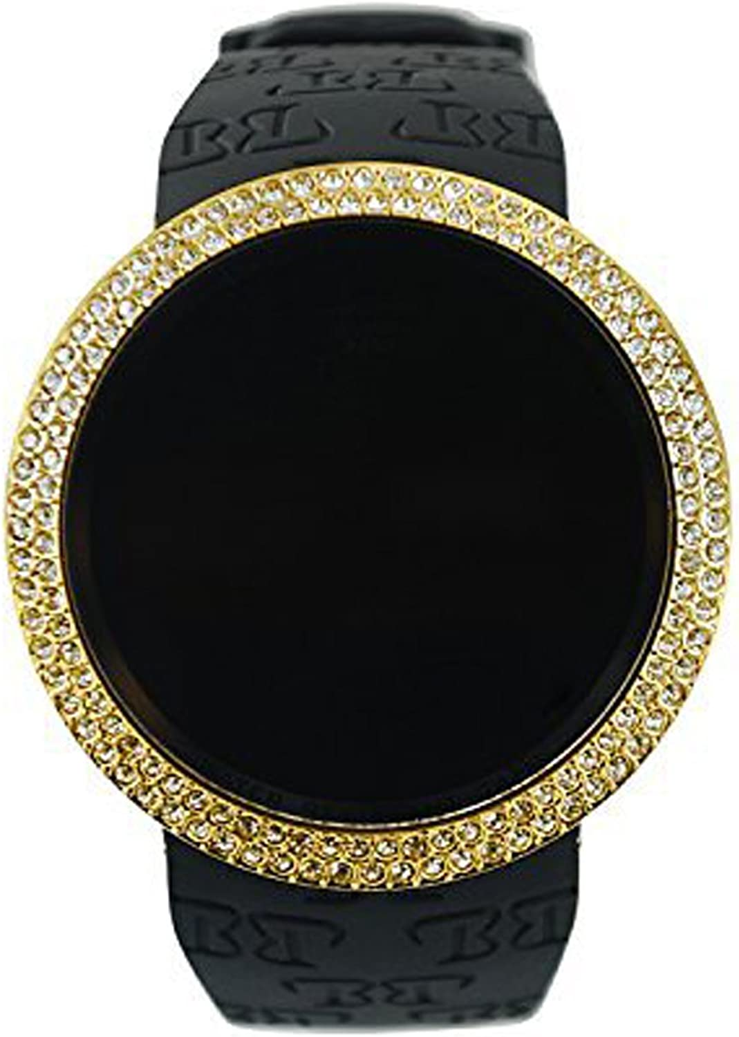 Techno Pave Iced Out Bling Lab Diamond Gold Black Digital Touch Screen Sports Smart Watch Silicone Band