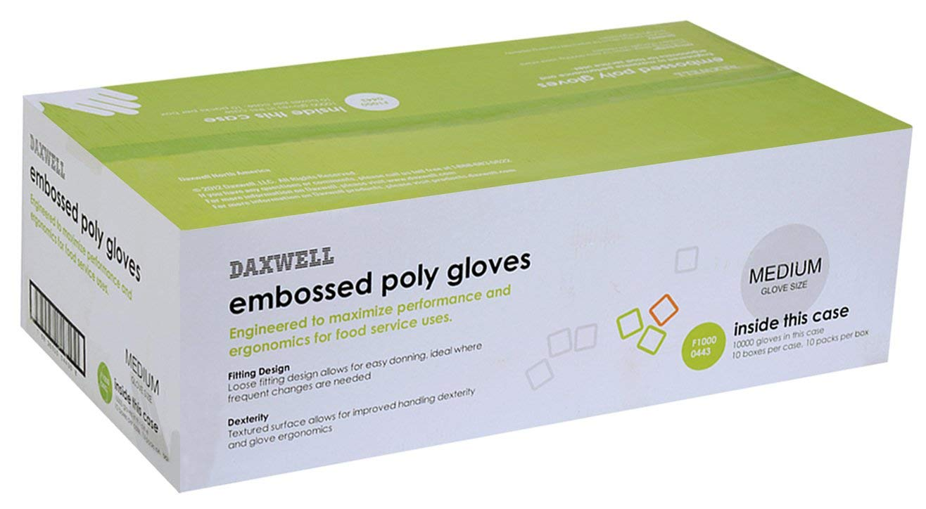 Daxwell F10000443 Poly Gloves, Embossed, Medium, Clear (Case of 10,000; 10 Boxes of 10 Boxes of 100)