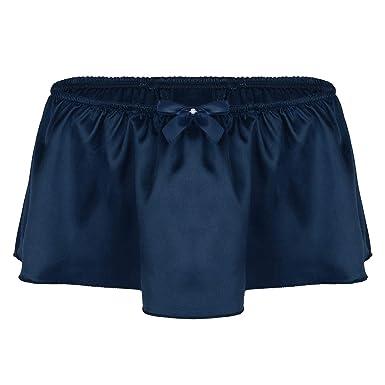 e04f0f046262 dPois Mens Satin Ruffled Panties Mini Skirted Sissy Floral Lace G-String  Thong Jockstrap Underwear: Amazon.co.uk: Clothing