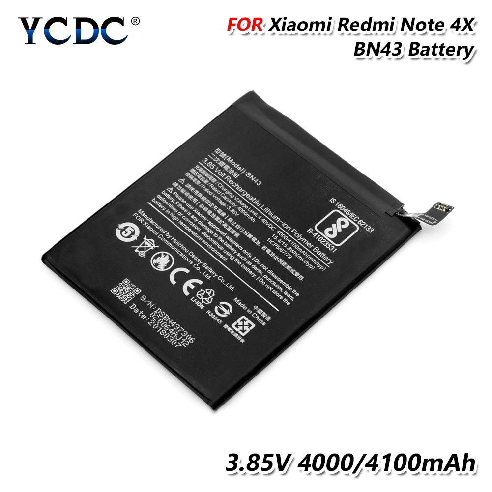 Amazon.com: YCDC - 2 pilas BN43 para Xiaomi Redmi Note 4 x 3 ...