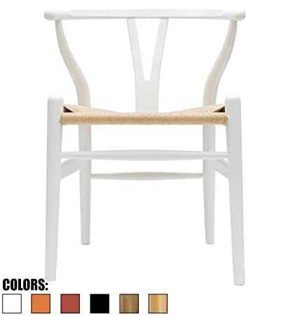 2xhome White   Wishbone Wood Arm Chair Armchair Modern White With Natural  Woven Seat Dining Room