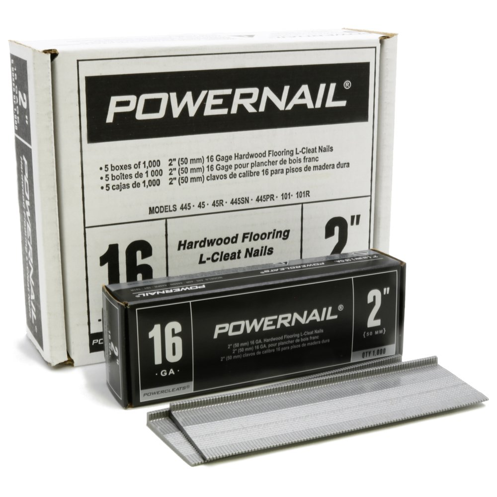 Powernail PowerCleat 16ga 2'' L-Cleat. Box of 5,000